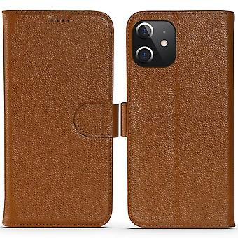 For iPhone 12 Pro/12 Case Fashion Cowhide Genuine Leather Wallet Cover Brown