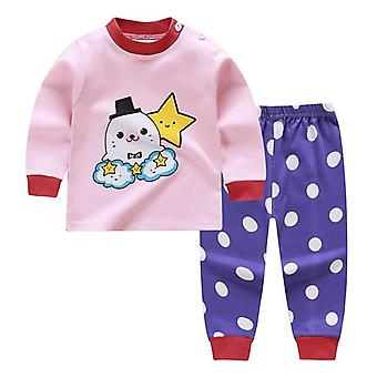 Cartoon Print Baby Pajamas Sets Sleepwear Autumn Spring Winter Long Sleeve