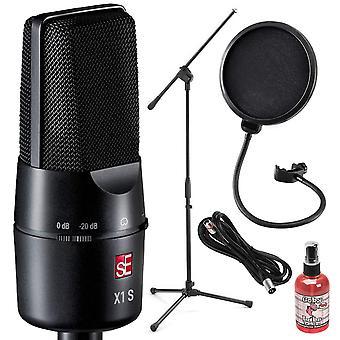 Microfono a condensatore cardioide se electronics x1 s a grande diaframma con supporto per braccio del microfono e pacchetto accessori deluxe