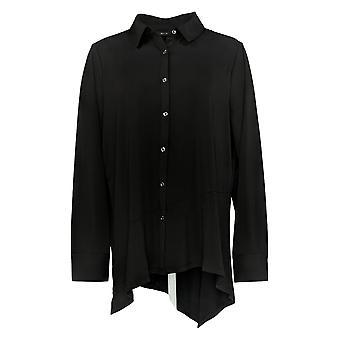H by Halston Women's Top Jersey Shirt With Asymmetric Hem Black A367974