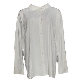 Martha Stewart Women''s Top Button Front Knit Blouse White A351518