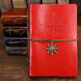 Retro Spiral Diary Notepad, Vintage Pirate Anchors Pu Leather Note Book