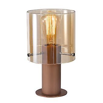 Lámpara de mesa moderna bronce antiguo, negro 1 luz con sombra de cristal, E27