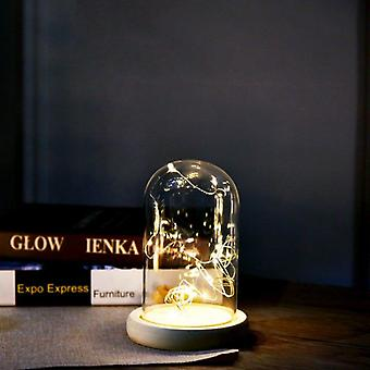 Silver Flower Glass Night Lamp