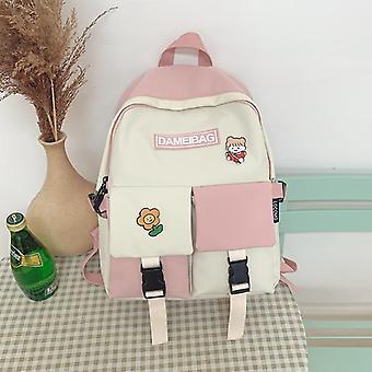 Panelled Waterproof Nylon Women Backpack Female Eye-splice Schoolbag Double