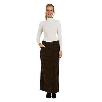Lisa full length corduroy skirt - olive-green