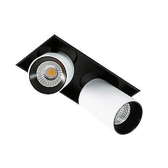 Moderne technische LED verzonken plafond wit, zwart, warm wit 3000K 1640lm