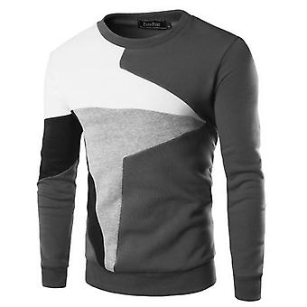 Sweater Clothing Male Pullover, Tracksuit Long Sleeve, Patchwork Round Neck