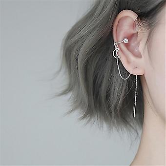 1 Pcs 925 Boucles d'oreilles Sterling Silver Moon Stud