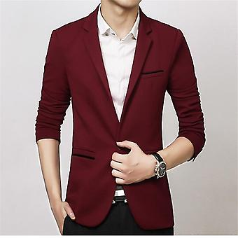 Spring-autumn Luxury Men Blazer Casual Business Cotton Slim Fit Suit Jacket