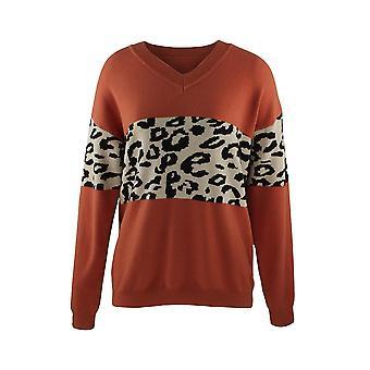 Pull tricoté imprimé Patchwork Leopard à col en V