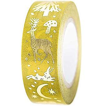 Christmas Craft Washi Tape Gold and Mustard Nostalgic Theme 10m