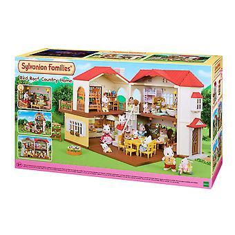 Sylvanian perheet 5302 punainen katto maalaiskoti, monivärinen iso talo valaistus / packagin