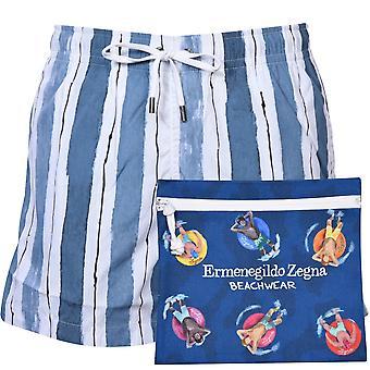 Ermenegildo Zegna rayas marroquíes pantalones cortos de baño, azul cielo