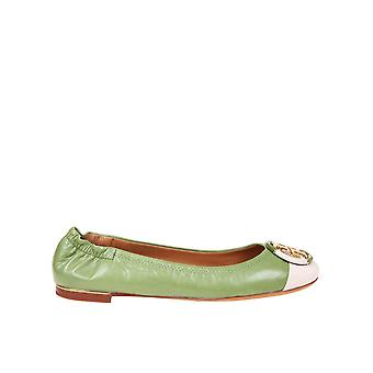 Tory Burch 81724300 Women's Green Leather Flats