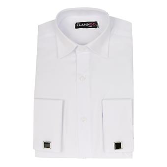 Flamingo Double Cuff Classic Collar White Shirt with Cufflinks