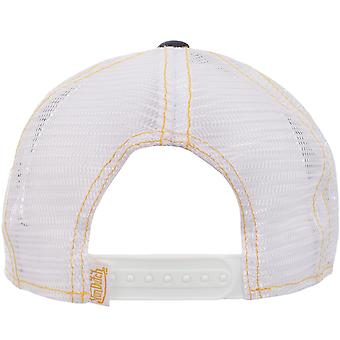 Von Dutch Mens Patch Logo Adjustable Snapback Trucker Cap Hat - Black/White/Gold