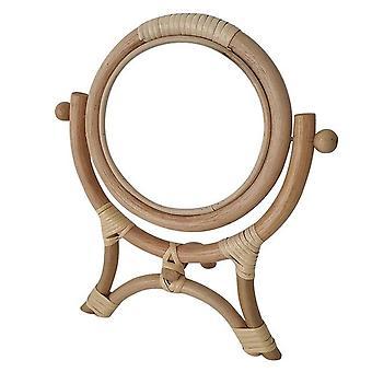 Rottinki innovatiivinen taide sisustus pyöreä meikki peili pukeutuminen kylpyhuone seinä ripustaa rottinki pukeutumispöytä meikki peili