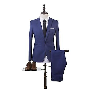 Business Blazer+pants Suit, Men Spring Solid Slim Wedding Set, Classic Fitness,