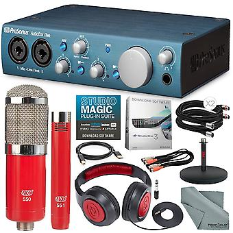 Presonus audiobox itwo usb 2.0 & ipad midi /audio recording interface ja mxl 550/551 mikrofoniyhdistelmäsarja + delxue-paketti