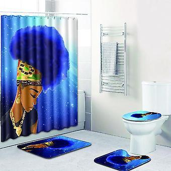 4pc Zasłona prysznicowa + mata Afrykańska kobieta