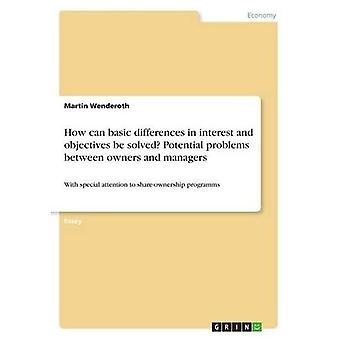 How can basic differences in interest and objectives be solved? Potential problems between owners and managers