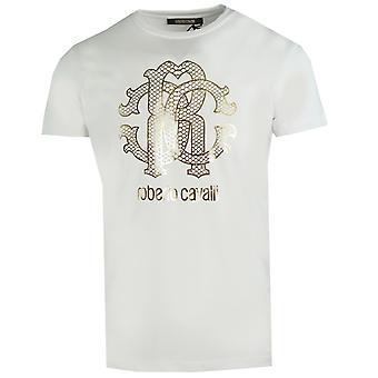 Roberto Cavalli Gold Schlange Haut Logo weiß T-Shirt