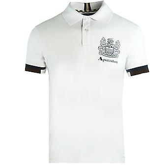 Aquascutum Aldis Crest Logotyp Vit Polo Skjorta