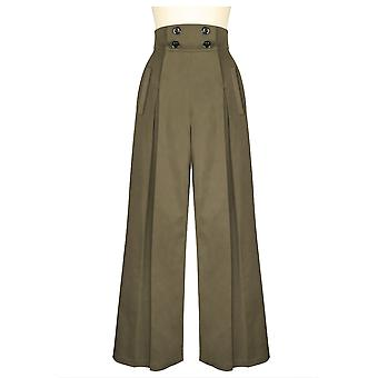 Chic Star Plus Size 40s Wide Leg Pleated Pants In Khaki
