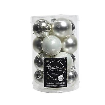 16 3.5cm Silver Shades Mix Glass Christmas Tree Bauble Decorations