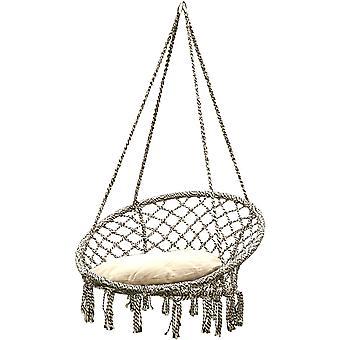 Krzesło wiszące z poduszką 80x60cm - Pleciona bawełna - Huśtawki lęgowe