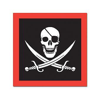 16 Serviettes en papier Pirate tête de mort 33 x 33 cm