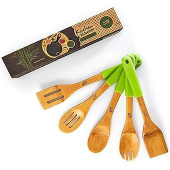 HanFei kologisches 5er Set Kchenzubehr mit Silikongriff | Kochbesteck aus nachhaltigem Bambus -