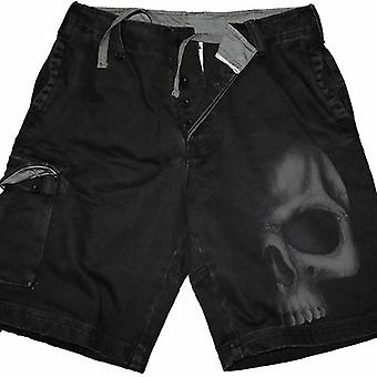 Shadow Skull (grey) - Vintage Cargo Shorts Black