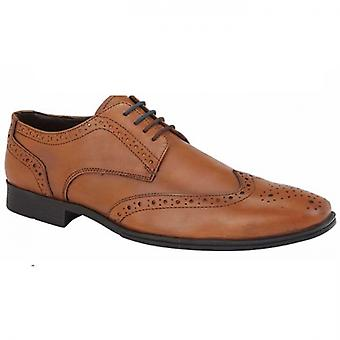 Route 21 Herald Mens Leather Brogue Gibson Shoes Tan