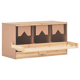 vidaXL Legenest Chicken Nest 3 compartments 72 x 33 x 38 cm Solid wood pine