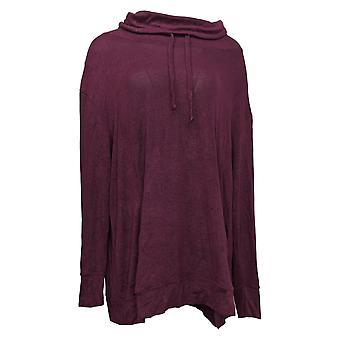 Anybody Women's Top Reg Brushed Hacci Cowl Neck Pullover Red  A310152