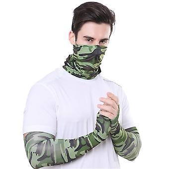 Masque de couverture faciale de protection solaire et manches de bras de refroidissement