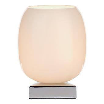 Touch Tafellamp Gepolijst Chroom compleet met Witte Glazen Kap