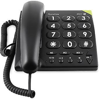 FengChun PhoneEasy 311c Schnurgebundenes Grotastentelefon mit optischer Anrufsignalisierung schwarz