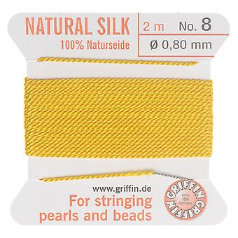 Griffin Silk Beading Cord & Needle, Size 8 (0.8mm), 2 Meters, Yellow