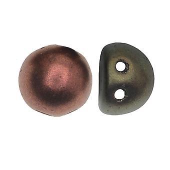 CzechMates Glass, 2-Hole Round Cabochon Beads 7mm Diameter, 25 Pieces, Matte Metallic Bronze Iris