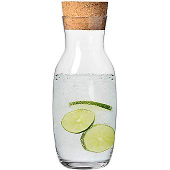 HanFei Wasserkaraffe mit Kork Deckel aus Glas   1000 ML   Pure Kollektion   Perfekt für zu Hause,