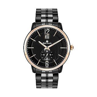 Rene Mouris - Classic men's quartz watch, 44 mm, stainless steel strap Black case with black Ref strap. 3701322800282