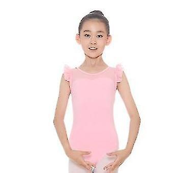 140Cm pembe kızlar çift kayış kolsuz jimnastik bale leotard tulum atletik dans kıyafetleri x3411