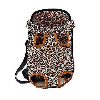 Xl 41 * 25cm leopard benzi în aer liber sac portabil pentru animale de companie, rucsac plasă respirabil pentru pisici și câini az7772
