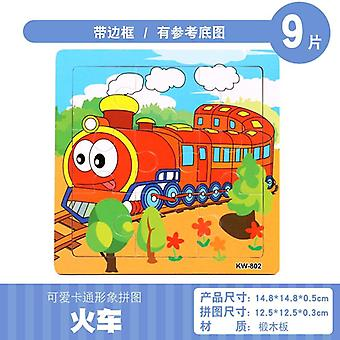 Puzzles Wooden Kids Baby Wood Cartoon Vehicle Animals Learning Educational