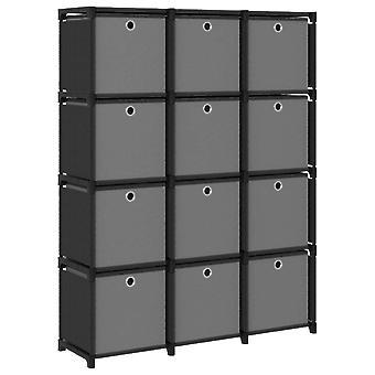 Schrank mit 12 Fächern mit Boxen 103X30X141 Cm Stoff Schwarz