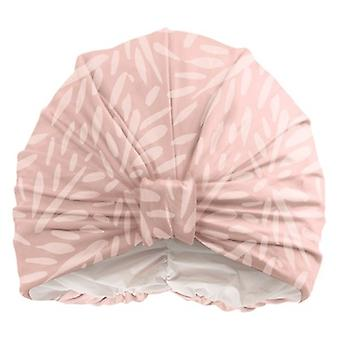 Full Circle Beauty Pink Leaf Turban Style Shower Cap
