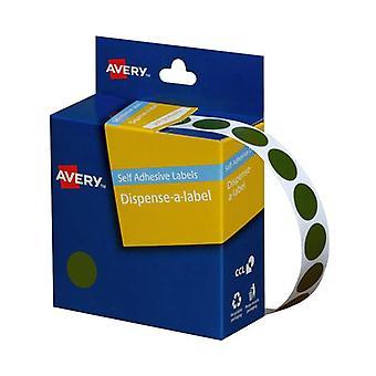 Avery Dispenser 14Mm Green Roll 1050